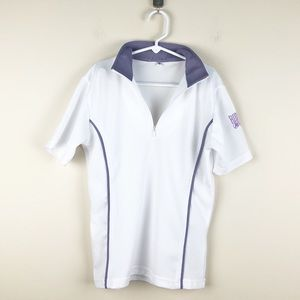 Riding Sport 1/4 Zip Small Short Sleeve White